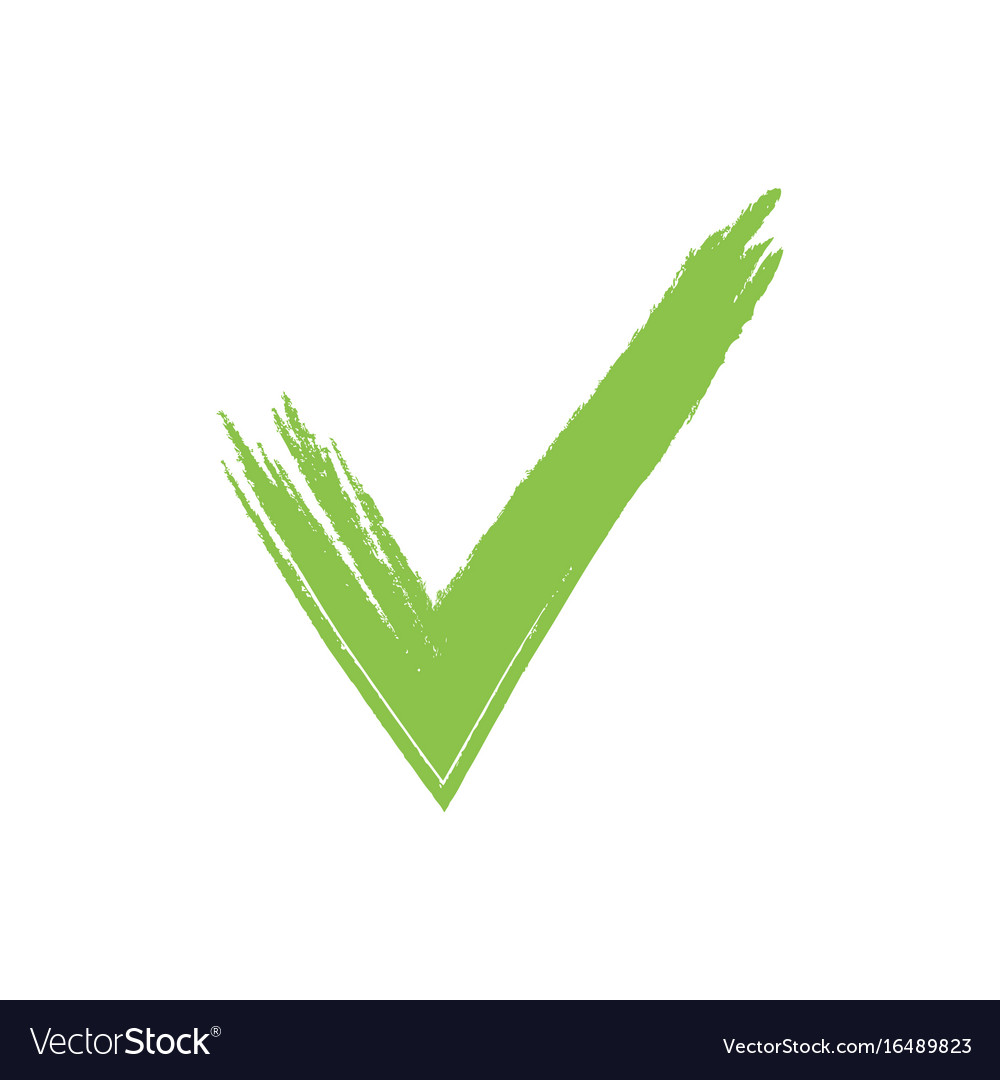 Hand drawn green grunge check mark.
