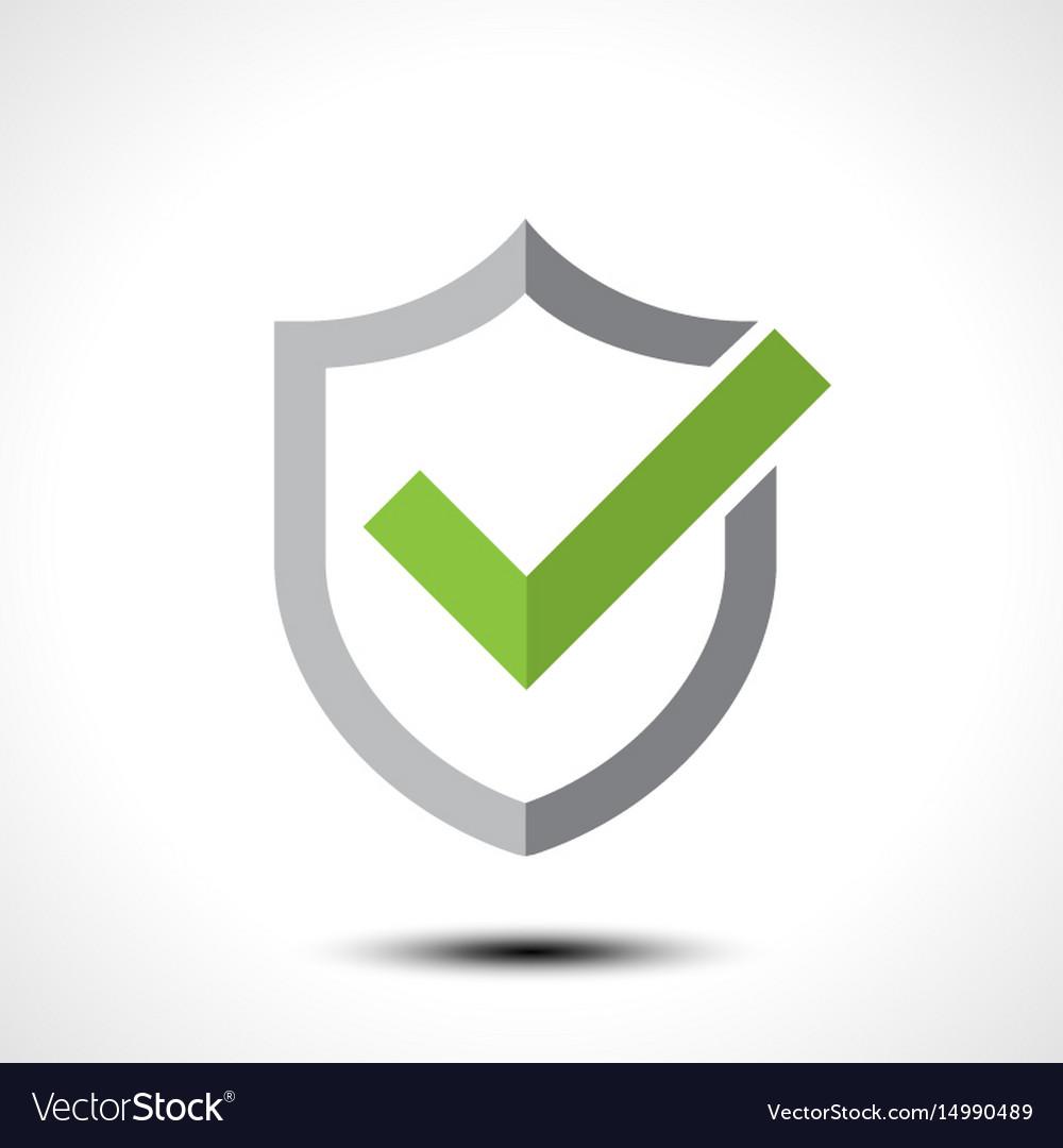 Shield check mark logo icon.