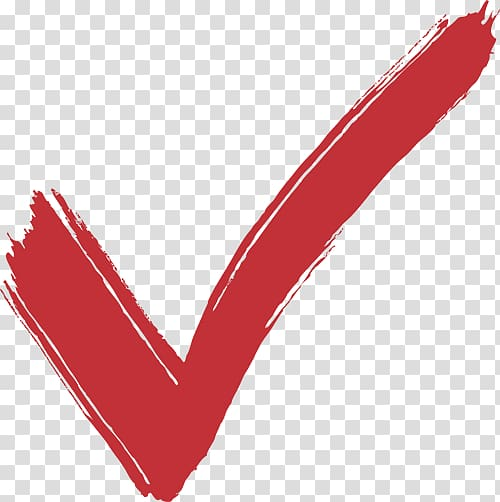 Red check symbol, Check mark , True Sign transparent background PNG.