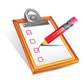 Clip Art of Clipboard and pencil. k3828979.