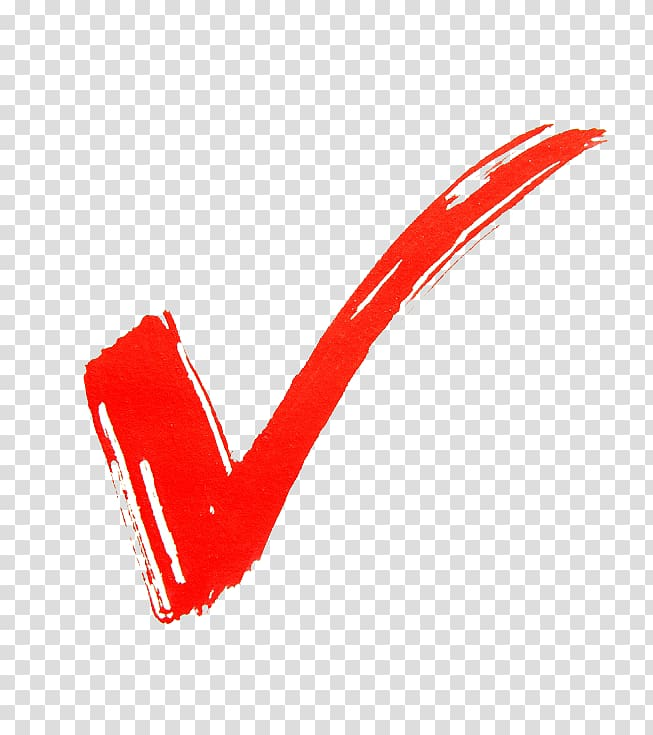 Red check illustration, Check mark, Right sign transparent.