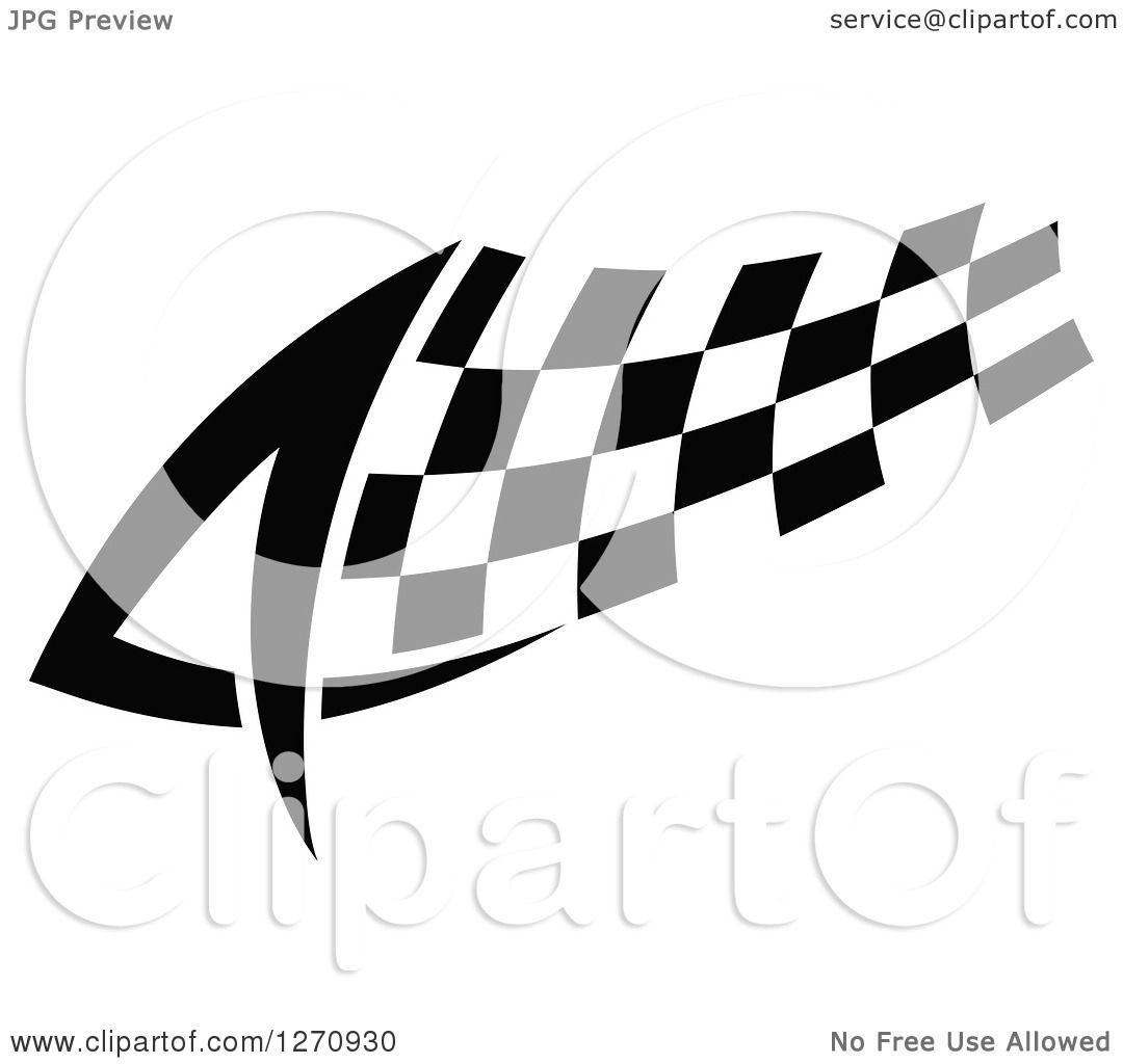 Clipart of a Black and White Tribal Checkered Racing Flag 2.