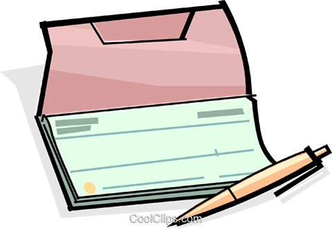 checkbook with pen Royalty Free Vector Clip Art illustration.