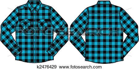 Clip Art of men checked shirts k2476429.