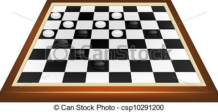 Vector Clipart of Checkers game in black and white design isolated.