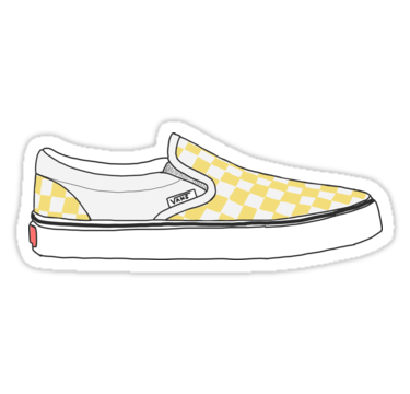 Yellow Checkered Vans Shoes\' Sticker by Josie Grace.