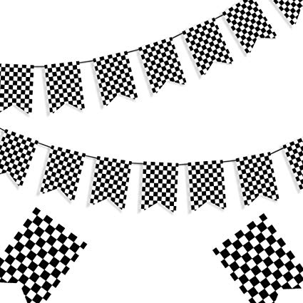 Amazon.com: Checkered Black and White Banner Race Flag Banner.