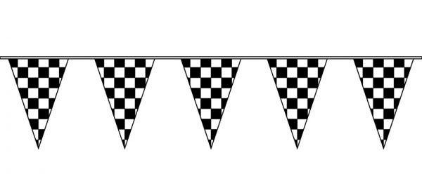 100ft Black & White Checkered Pennant String Flags.