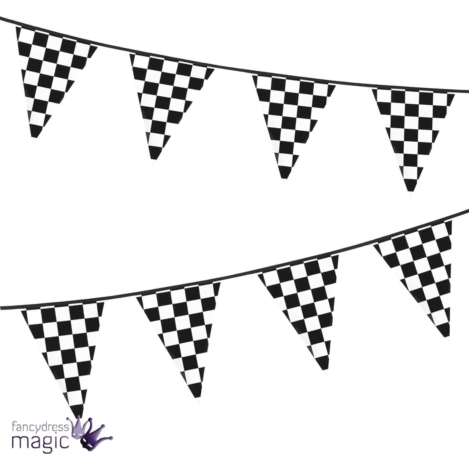 6M Chequered Flag Pennant Bunting F1 Motorsport Racing.