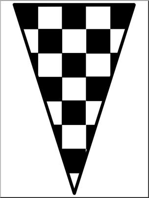 Clip Art: Racing: Checkered Flag Pennant B&W I abcteach.com.