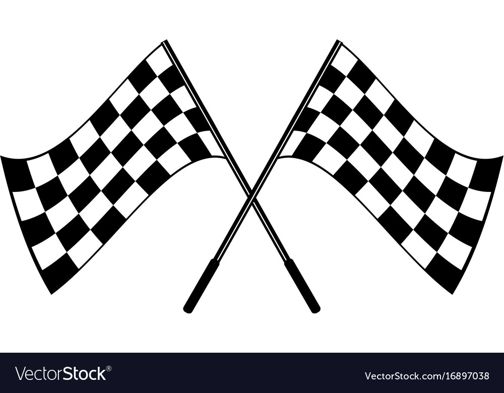 Crossed black and white checkered flags logo.