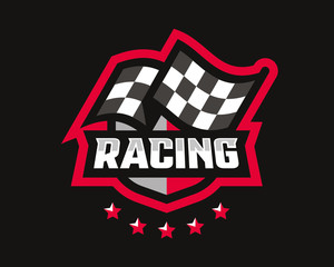 Checkered Flag Logo photos, royalty.