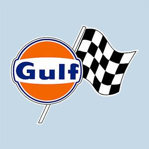 Details about Gulf chequered flag logo laminated sticker 100 mm 4\