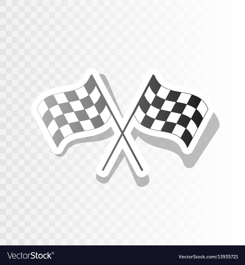 Crossed checkered flags logo waving in the wind.