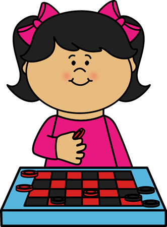 Kid Playing Checkers Clip Art.