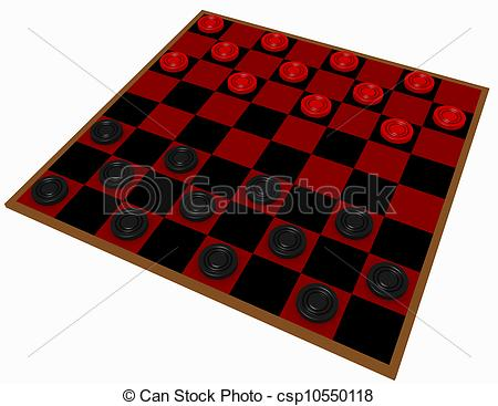 Clipart of 3d Render of a Checkers Game Isolated on White.