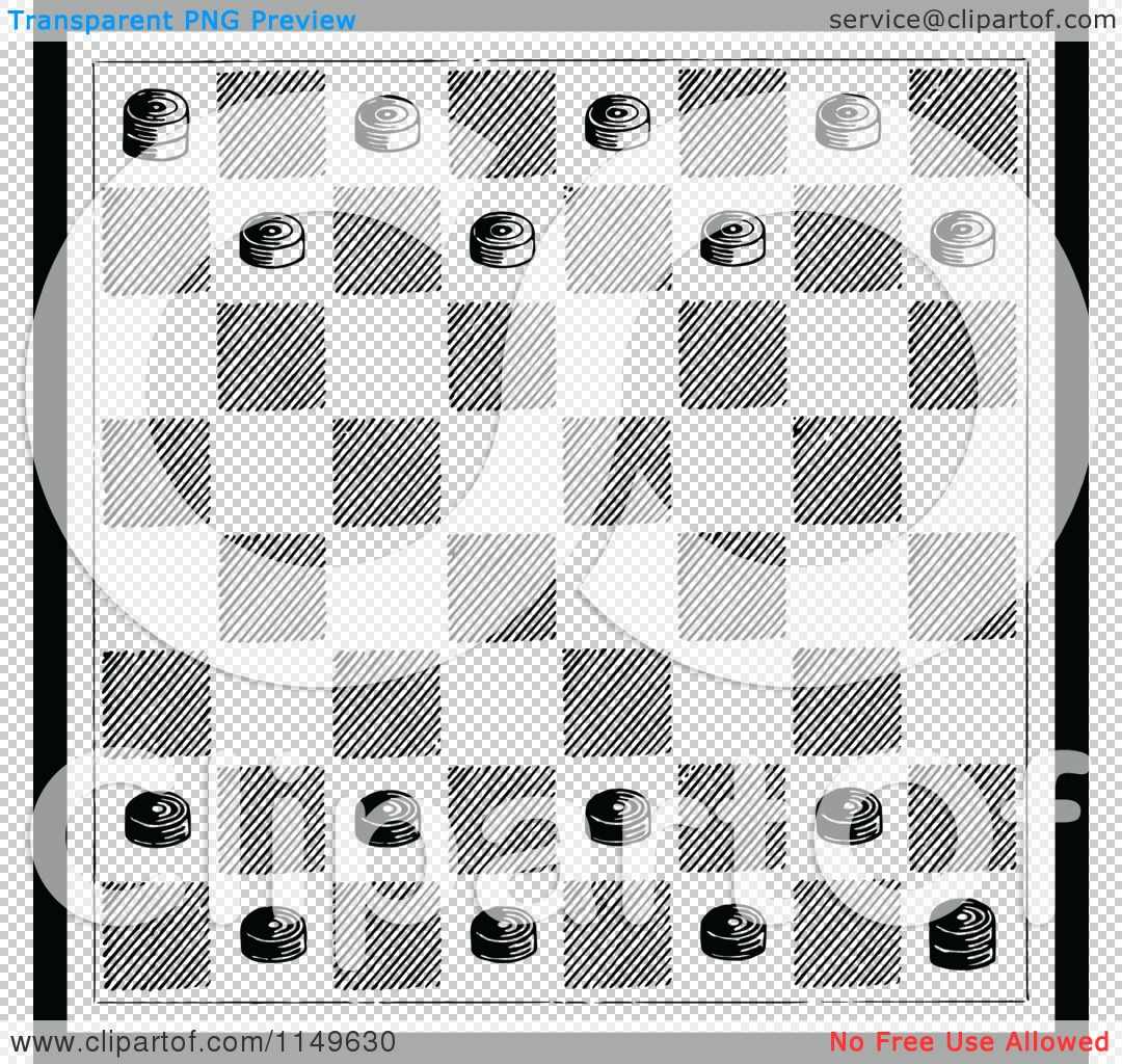 Clipart of a Retro Vintage Black and White Checkers Game Board.