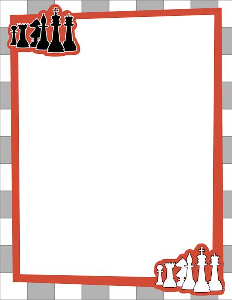 Chess page border with black and white chess pieces. Free.