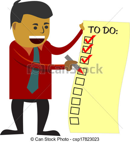 Vector Illustration of to do list checking by 3d man over.