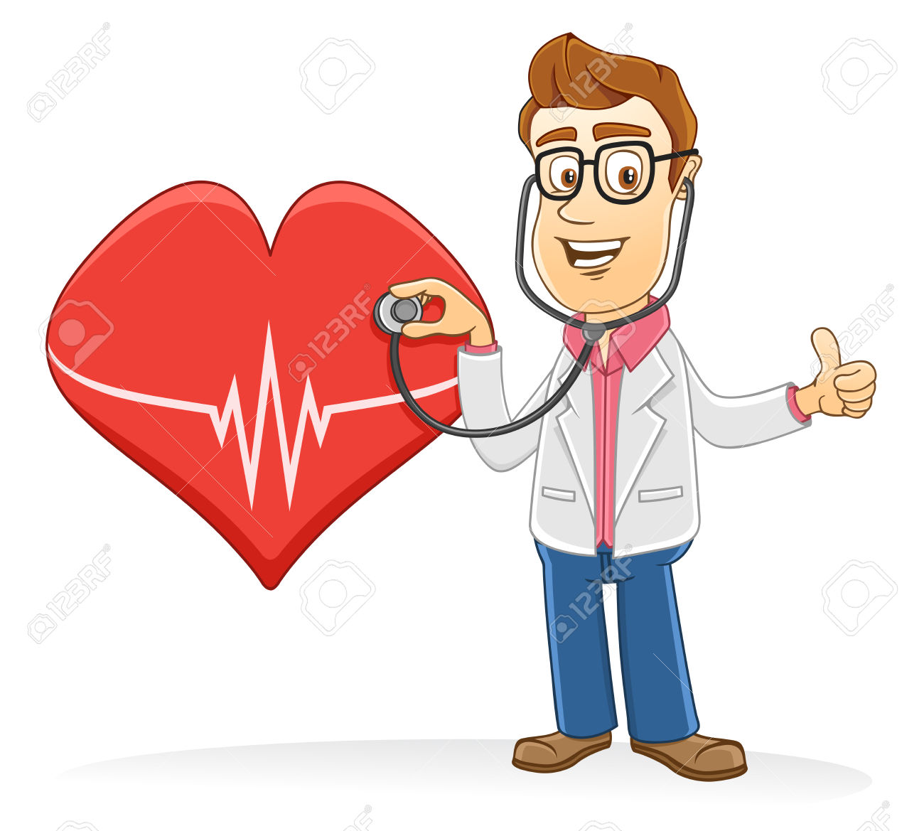 Doctor Checking A Heart Symbol Using A Stetoschope Royalty Free.