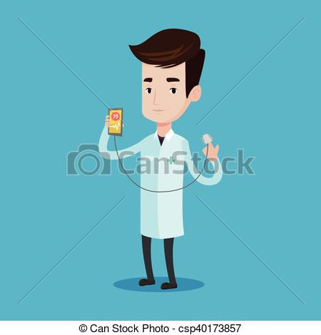 Clipart Vector of Doctor showing app for measuring heart pulse.
