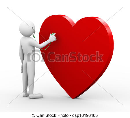 Stock Illustration of 3d doctor checking heart with stethoscope.