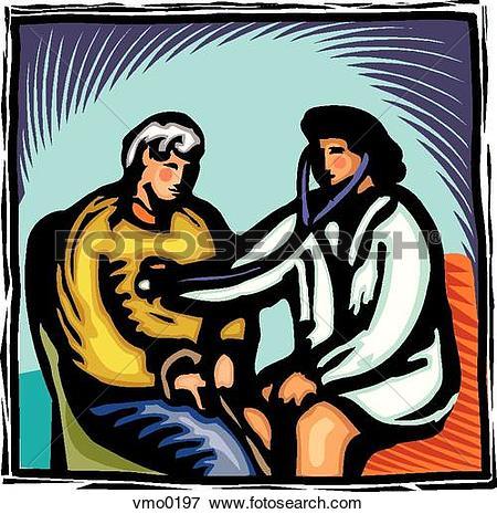 Stock Illustration of Doctor checking an elderly man's heart rate.