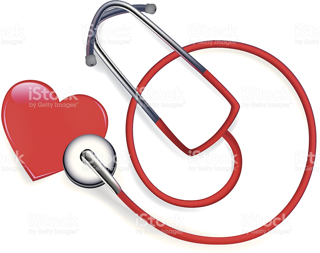 Stethoscope Checking Heart On White stock vector art 165622239.