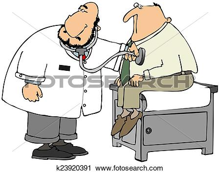 Clipart of Doctor checking patient's heart k23920391.