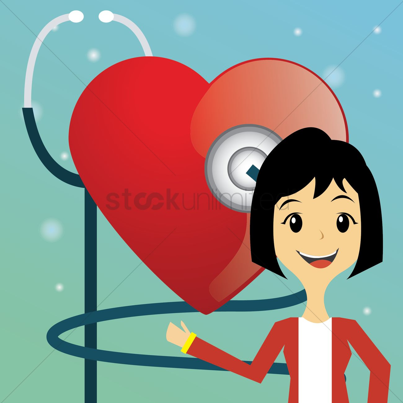 Woman doctor checking heart beat Vector Image.