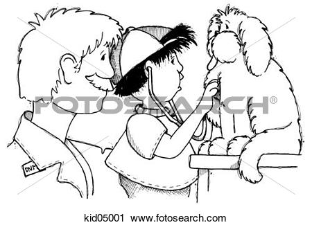 Clipart of Illustration of boy checking dog's heart with.
