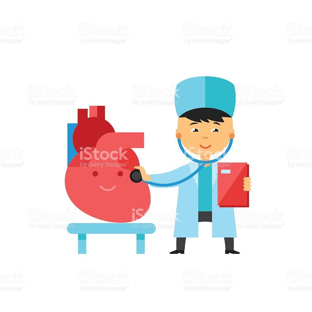Doctor Checking Heart Icon stock vector art 626262940.