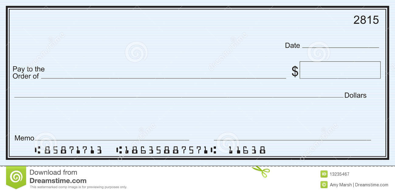 Clipart blank bank check.