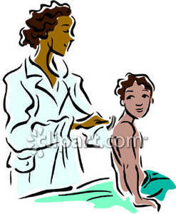 Pediatrician Giving a Boy a Check Up Royalty Free Clipart Picture.