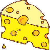 Clipart of Cartoon mouse hiding inside cheddar k19296675.