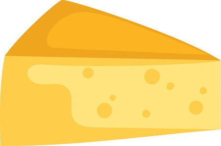 Cheddar cheese slice on white background food healthy.