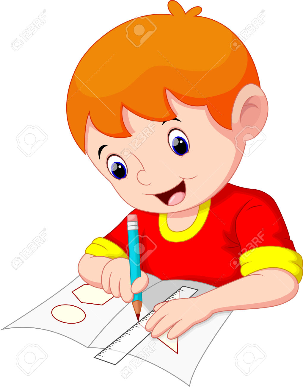 Little Boy Drawing On A Piece Of Paper Royalty Free Cliparts.