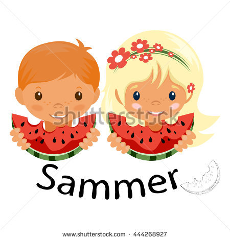 _child_vector_eating_watermelon Stock Photos, Royalty.