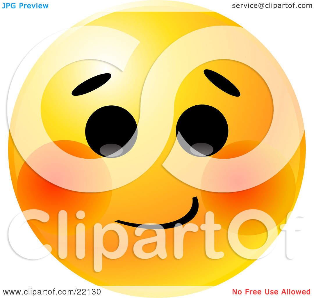 Clipart Illustration of a Yellow Emoticon Face With A Bashful.