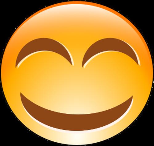 Vector clip art of orange cheeky smiley.