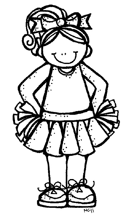 Cheerleading Black And White Clipart.