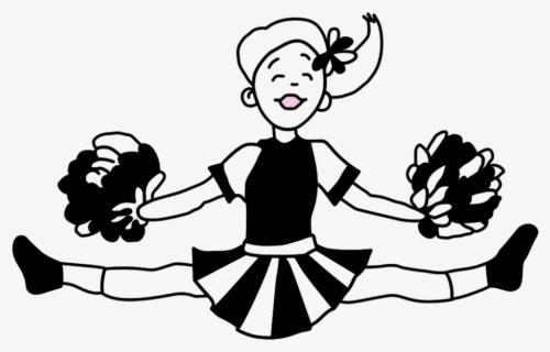 Free Cheerleading Black And White Clip Art with No.