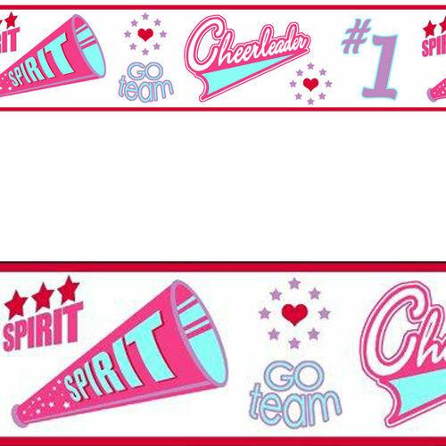 CHEER Cheerleader Go Team Spirit Pink Self Adhesive Wall paper Border.