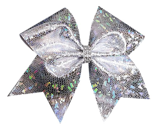 silver holographic cheer bow.