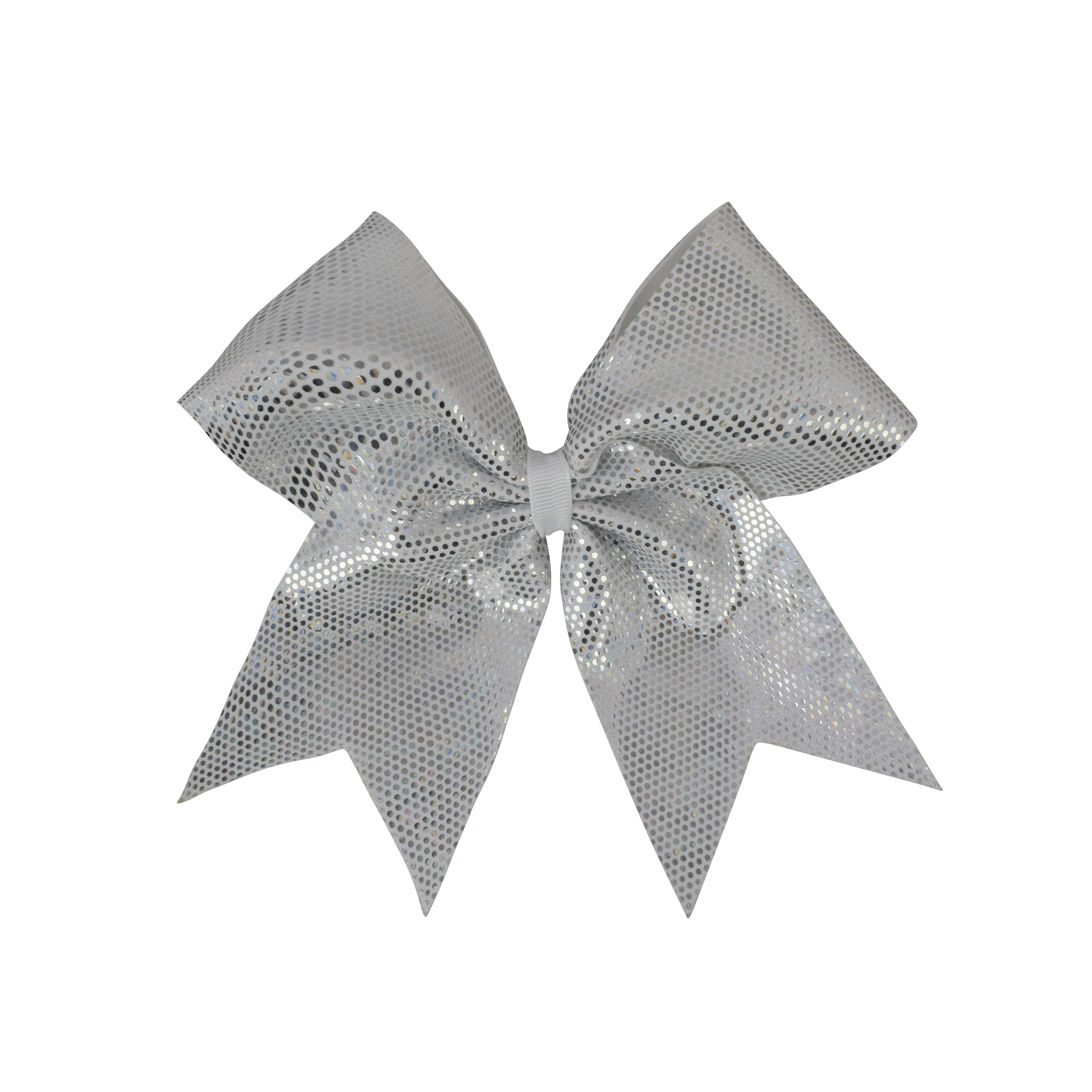 White and Silver Dotted Sparkle I Love Cheer® Hair Bow.