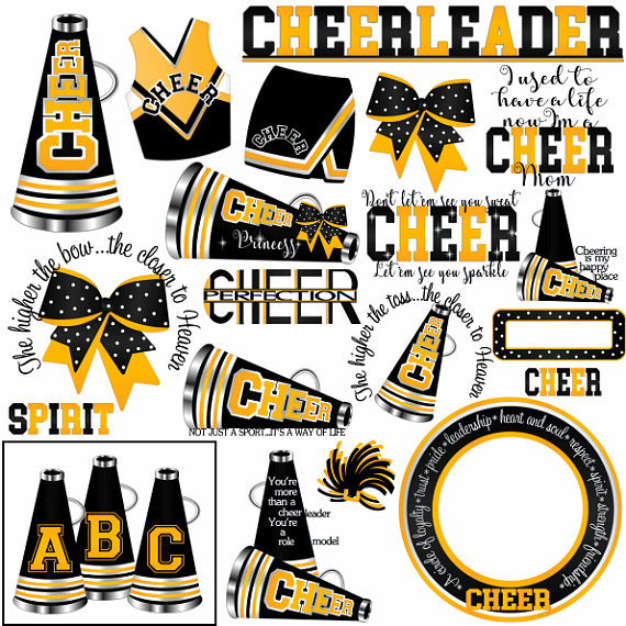 Cheer clipart, MORE COLORS, 50+ graphics, black yellow gold.