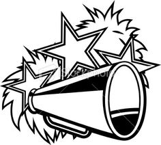 Cheer Megaphone Clipart Black And White.