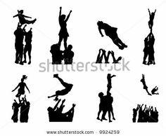 Cheerleading Stunt Silhouette.