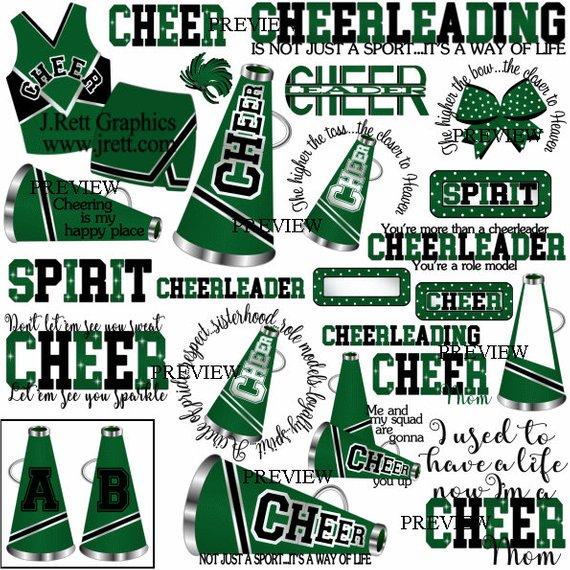 Cheer clip art, MORE COLORS, 50+ graphics, black green.