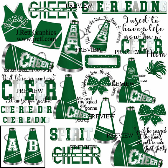 Cheer clipart, MORE COLORS, 50+ graphics, green white cheer.